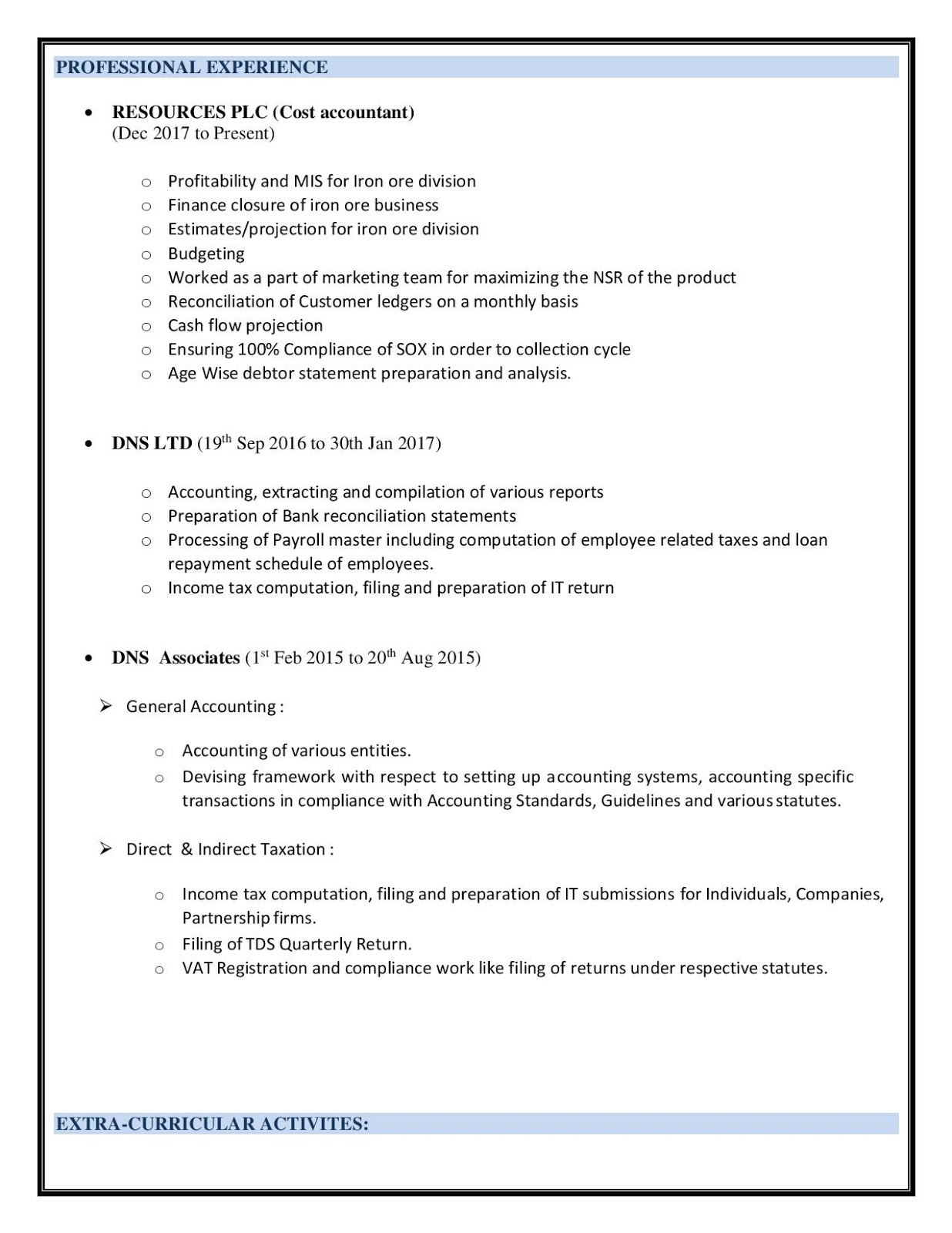 Cost Accountant Resume Sample Example Template Summary