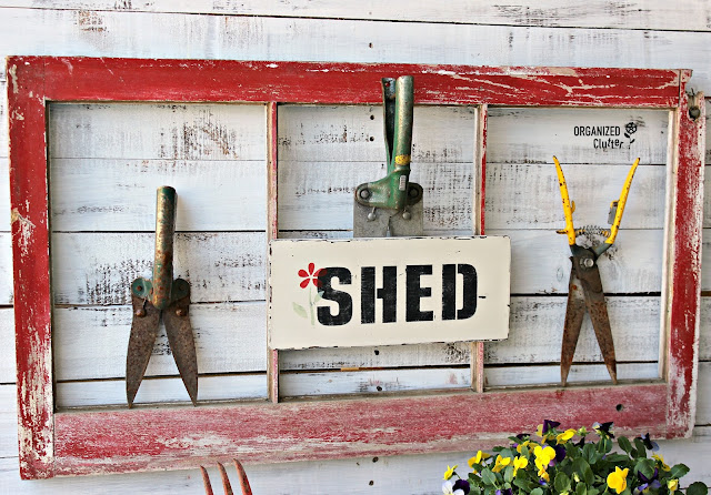 DIY Vintage Grass Shears & Stenciled Garden Shed Sign
