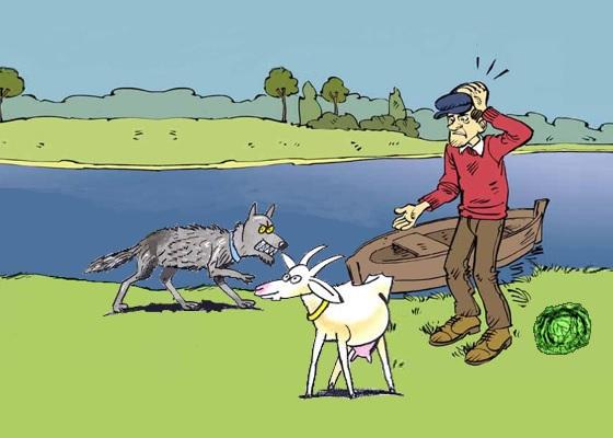 Il contadino, la capra, il cavolo e il lupo