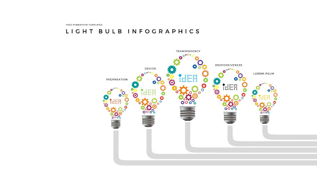 Infographic Free PowerPoint Templates with Light Bulb and Gear Diagrams in White Background