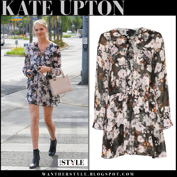 Kate Upton in floral print mini dress with pink bag and black ankle boots what she wore feminine casual celebrity outfit