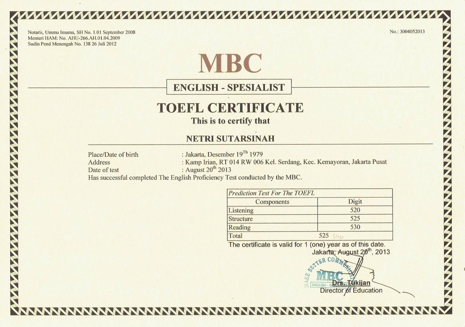 Toefl Terdaftar Tlp 081212043918