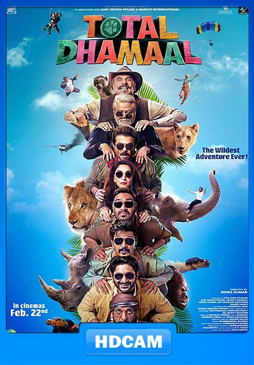 Total Dhamaal 2019 Hindi 720p PreDVDRip x264   480p 300MB   100MB HEVC Poster