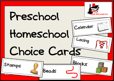 Free preschool homeschool choice cards from Heidi Raki of Raki's Rad Resources and RVing with the Rakis.