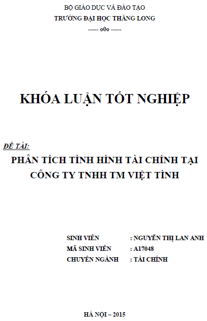 Phân tích tình hình tài chính tại Công ty TNHH TM Việt Tình