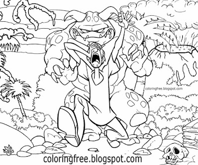 Erupting volcano landscape prehistoric monster drawing Shaggy and Scooby coloring pictures to print