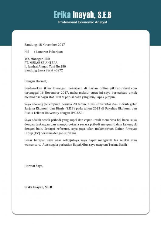 Contoh Surat Lamaran Kerja Sederhana Tetapi Menarik