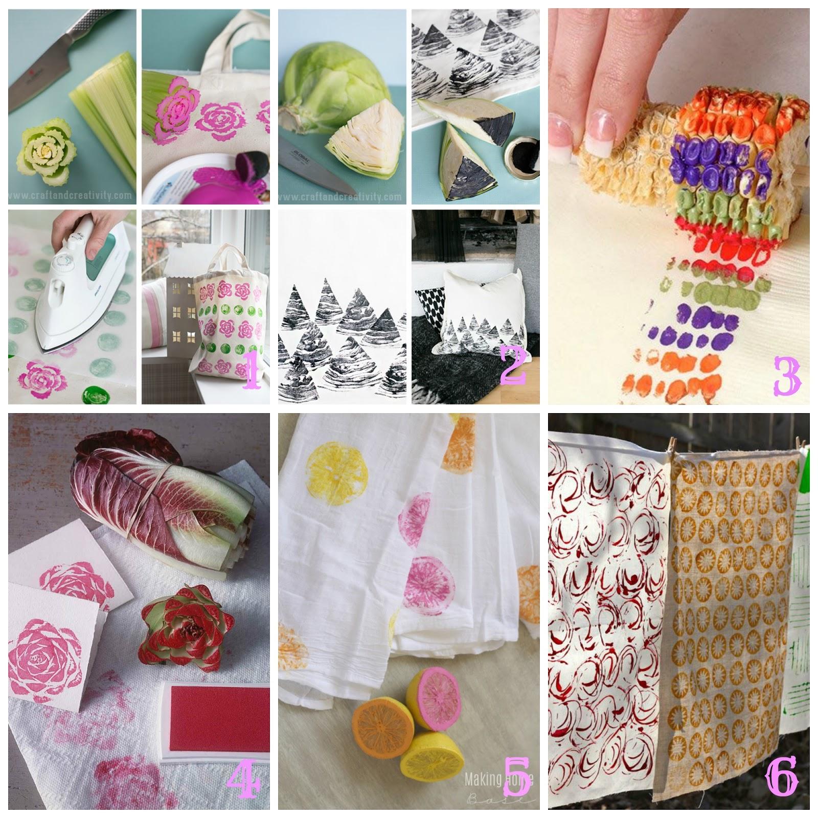 Stampe fai da te su carta e stoffa con verdura e oggetti for Oggetti fai da te