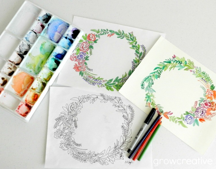 free floral wreath coloring and watercolor pages grow creative blog