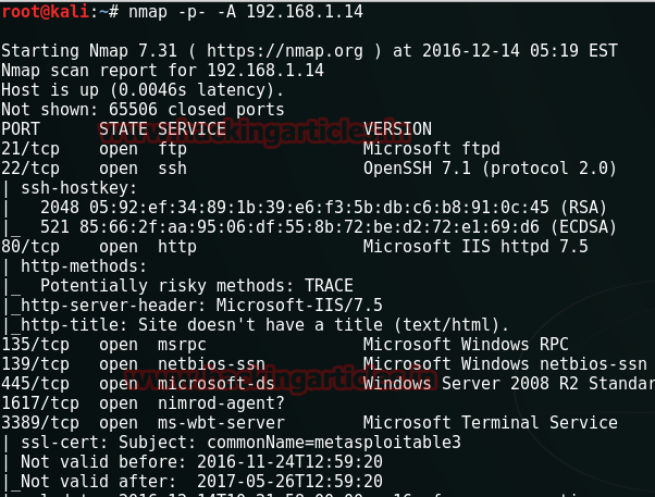 Perform DOS Attack on Metasploitable 3