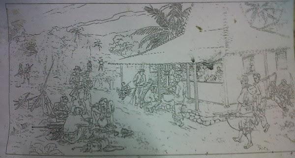 gambar sket relief dinding