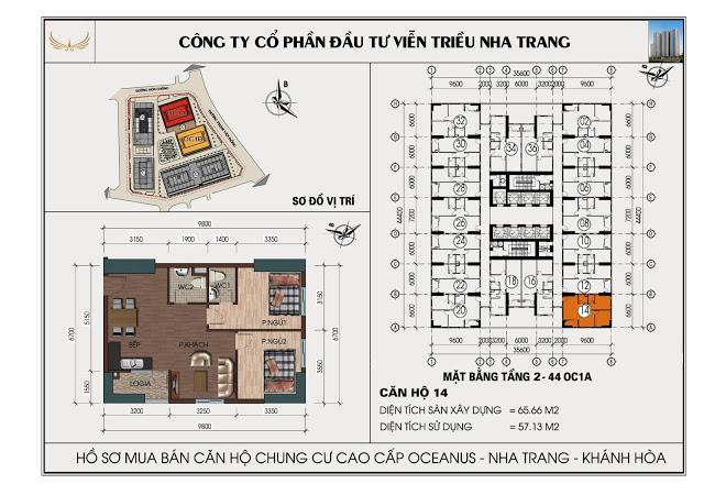 Sơ đồ căn hộ số 14 tòa OC1A Viễn Triều Nha Trang
