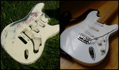 DIY guitar before and after