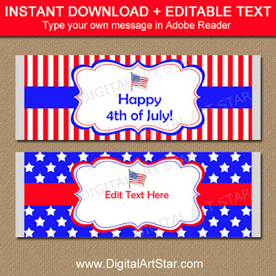 printable 4th of july candy bar wrappers - edit the text in Adobe Reader - use them as party favors!
