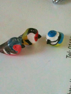 Polymer clay birds hand painted by Lottie Of London