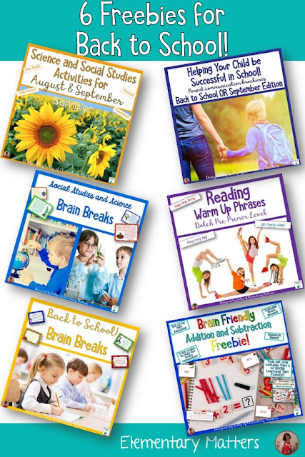 ix Freebies for Back to School - This includes parent communication, brain breaks, Science, Social Studies, literacy, and math freebies for second grade.