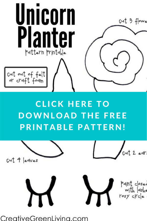 Kawaii unicorn mason jar craft - free printable pattern