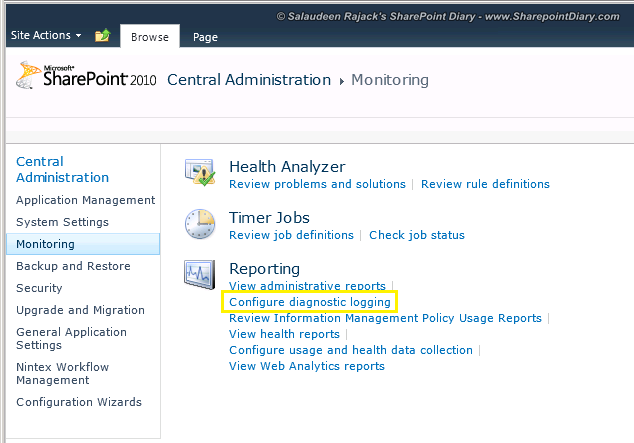 sharepoint 2010 configure diagnostic logging settings
