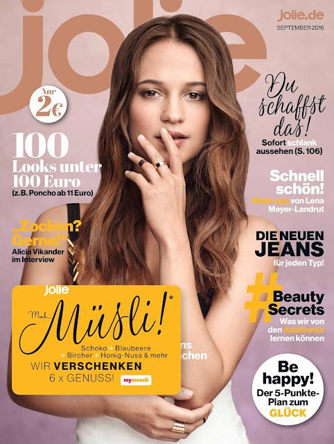 Actress, @ Alicia Vikander - Jolie Magazine Germany, September 2016
