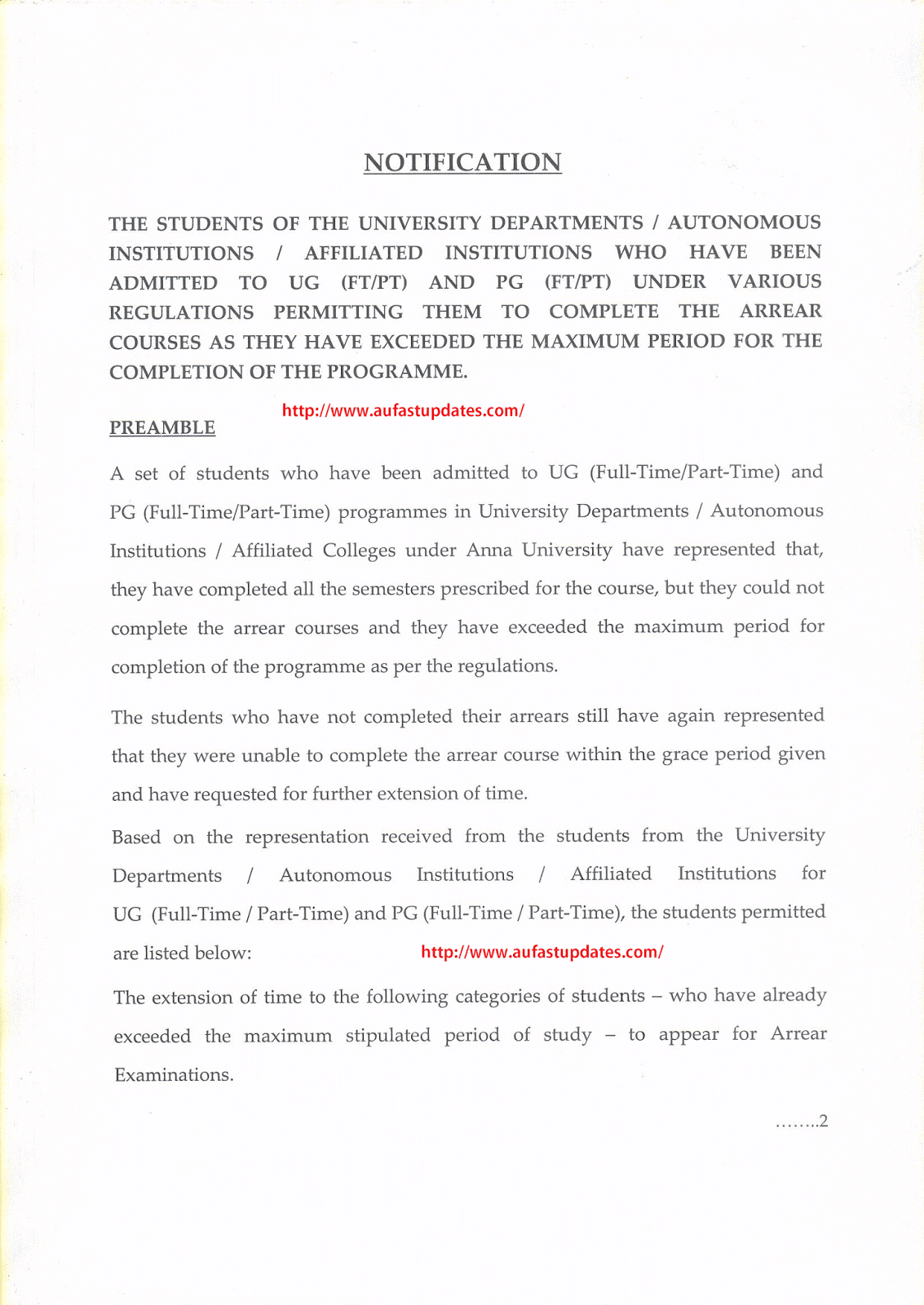Notification - Permitting Students to Complete the Arrear Courses those who have Exceeded the Maximum Period for the Completion of the Programme - Reg.