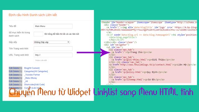Chuyển Menu từ Widget Linklist sang Menu HTML tĩnh