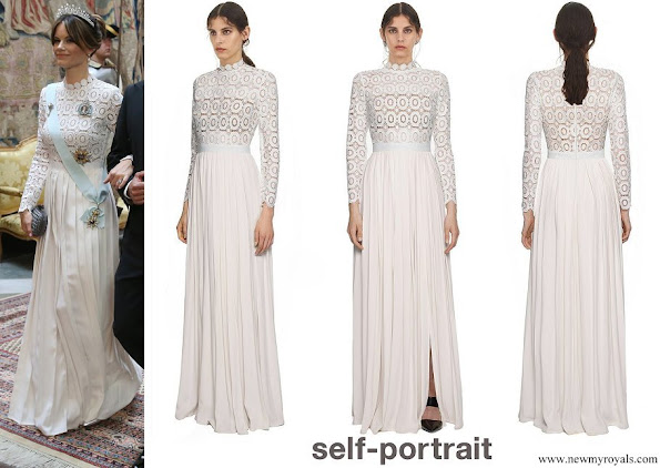 Princess Sofia wore Self-Portrait pleated crochet floral maxi dress