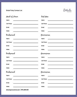 Vendor List Template Printable Wedding Party List Template - contact list template