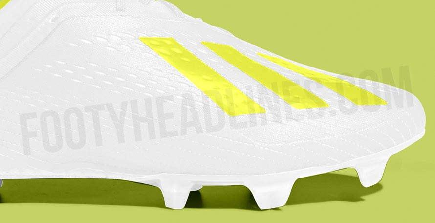 a38721708 The white and solar yellow Adidas X 18 cleats have a Speedmesh upper with a  Claw collar and a Speedframe outsole for fast