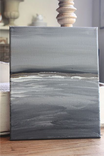 Abstract seascape painting on canvas in blue grey tones by Hello Lovely Studio