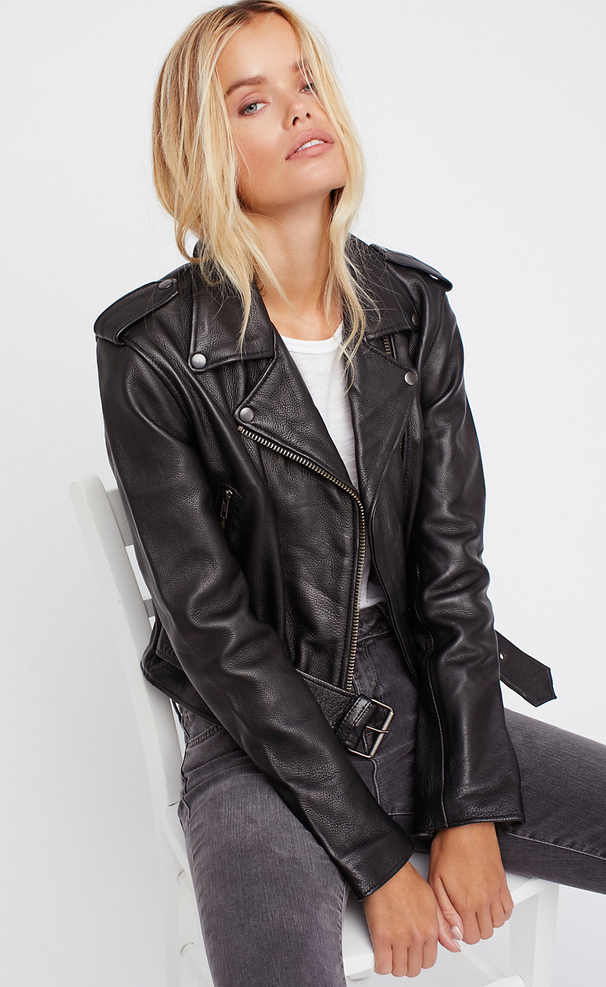 Free People Shrunken Leather Moto Jacket