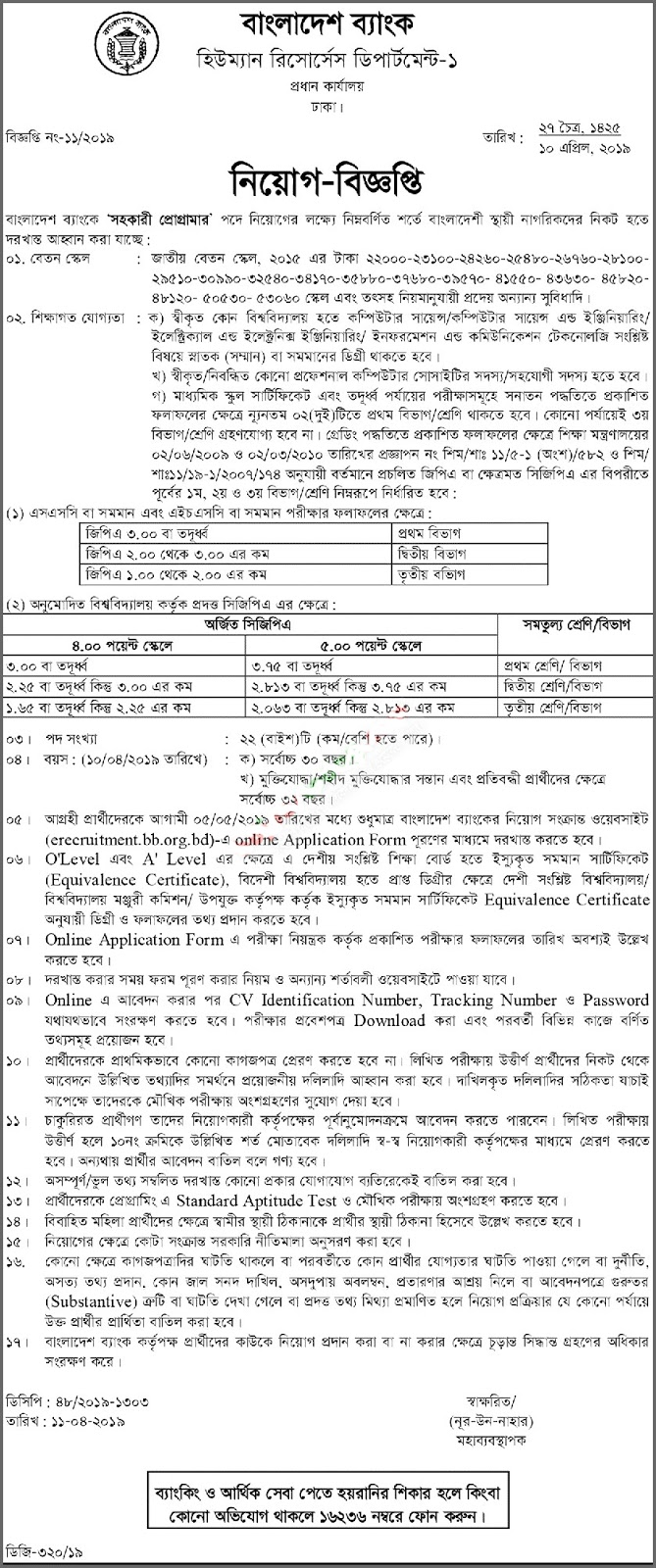 Bangladesh Bank (BB) Assistant Programmer Job Circular 2019