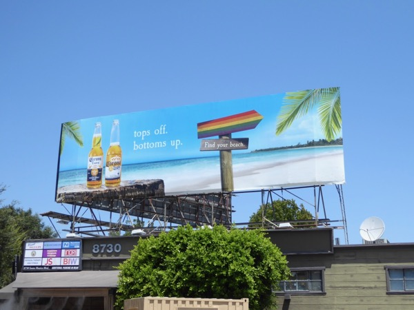 Bottoms up Corona LGBT rainbow billboard