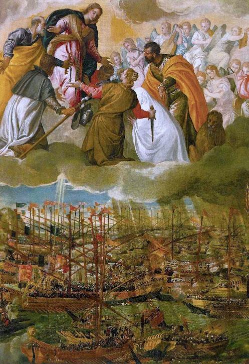 Maria Auxiliadora aparece na batalha de Lepanto contra os islamitas, Paolo Veronese (1528 — 1588).