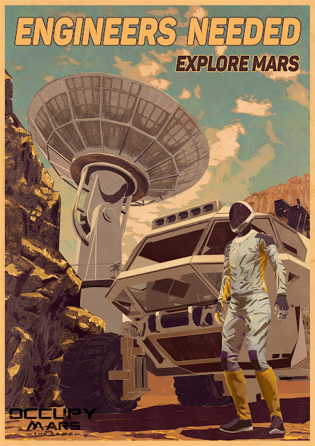 Occupy Mars game poster with astronaut and rover