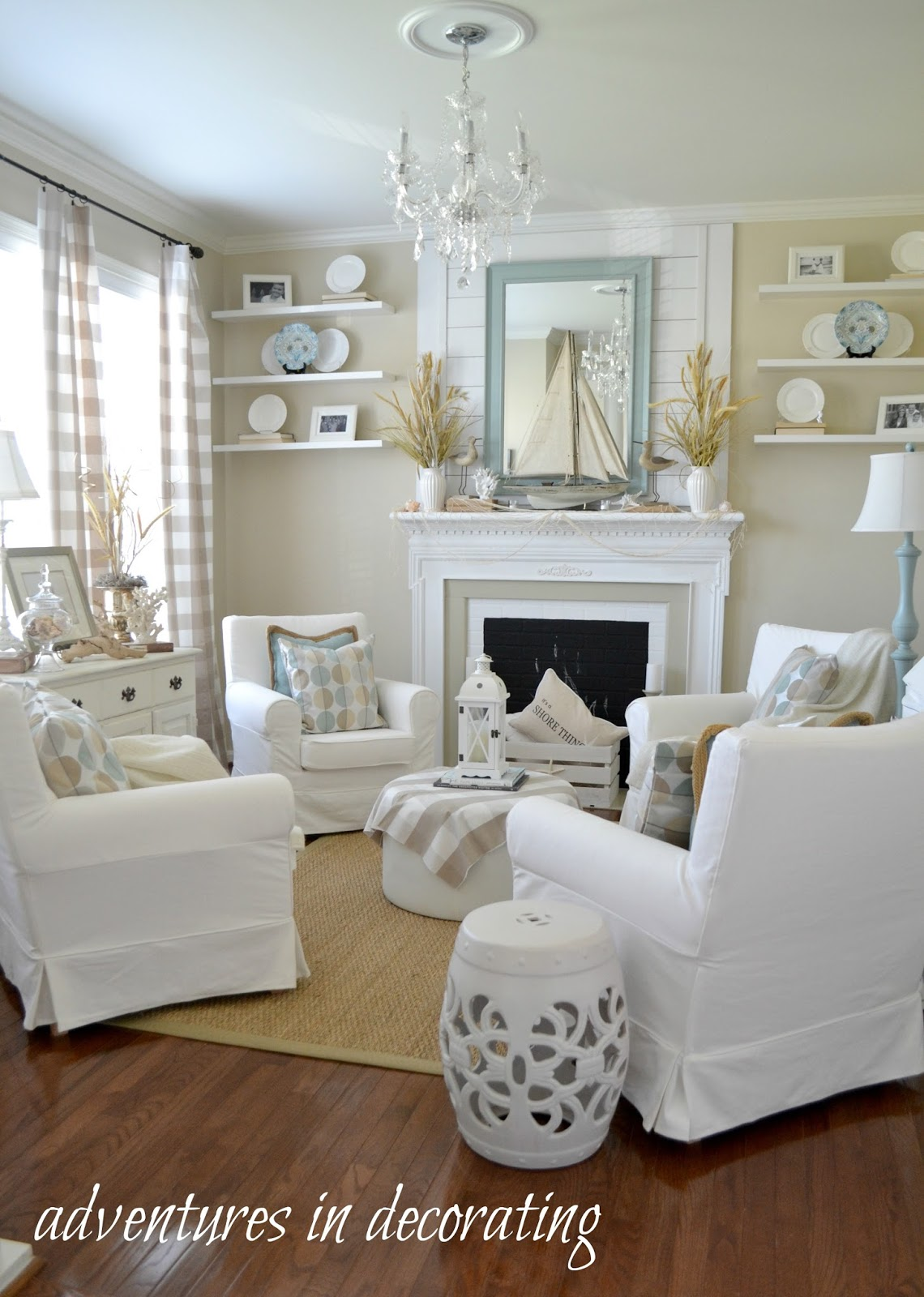 Adventures in decorating our coastal sitting room for Sitting decorating ideas