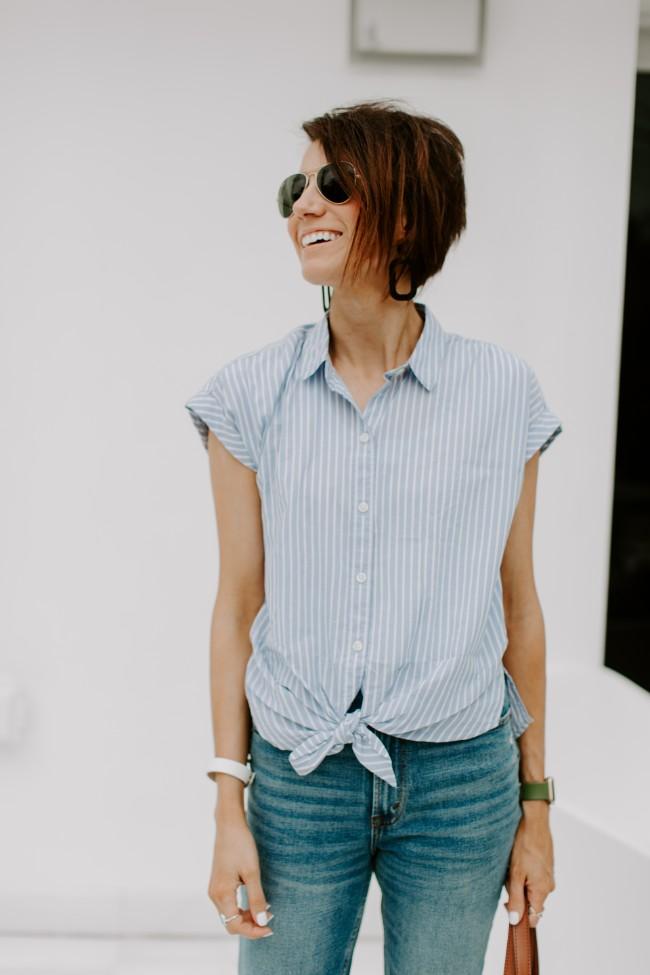 Tie front poplin shirt - Kilee Nickels