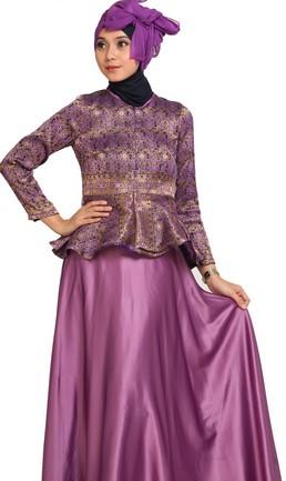 Model Long Dress Batik Kombinasi Polos untuk pesta