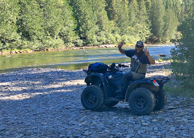 J.P. Tessier on the ATV. Riding on it to the upper pools in Sector E was an adventure! Bonaventure River