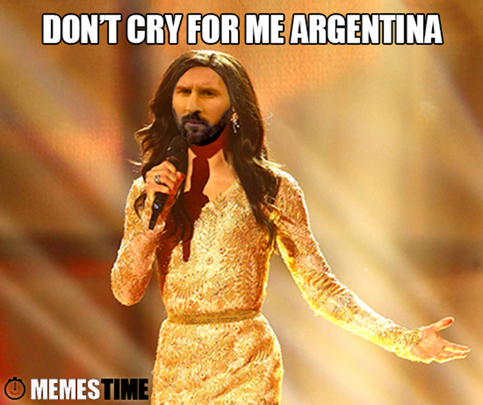 Meme Lionel Messi como Conchita Wurst – Don't cry for me Argentina