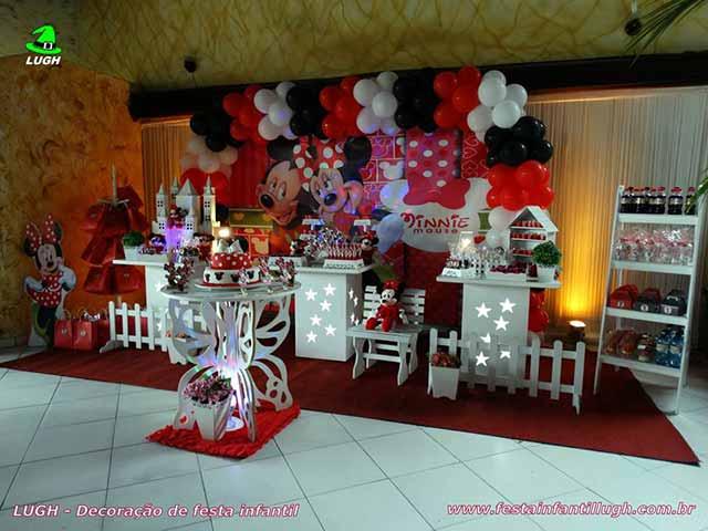 Decoração infantil Minnie com vestido vermelho - Festa infantil