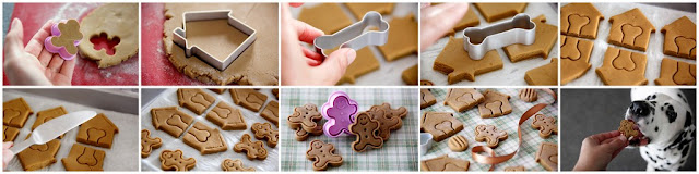 Step-by-step making Christmas dog treats shaped like gingerbread men and dog houses