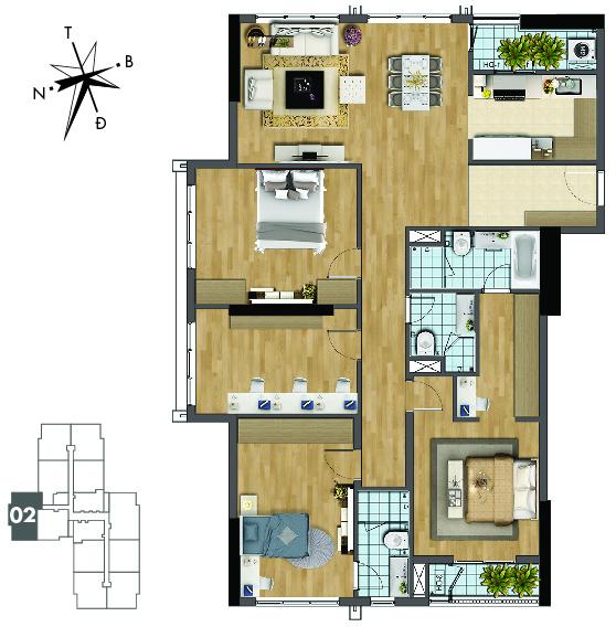 Mặt bằng căn hộ 02 tòa Sapphire 2