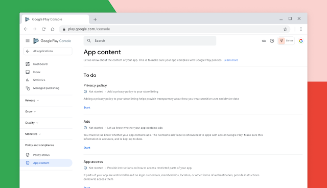 App content section on Google Play Console