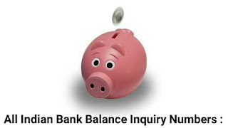 All indian bank number for balance inquiry