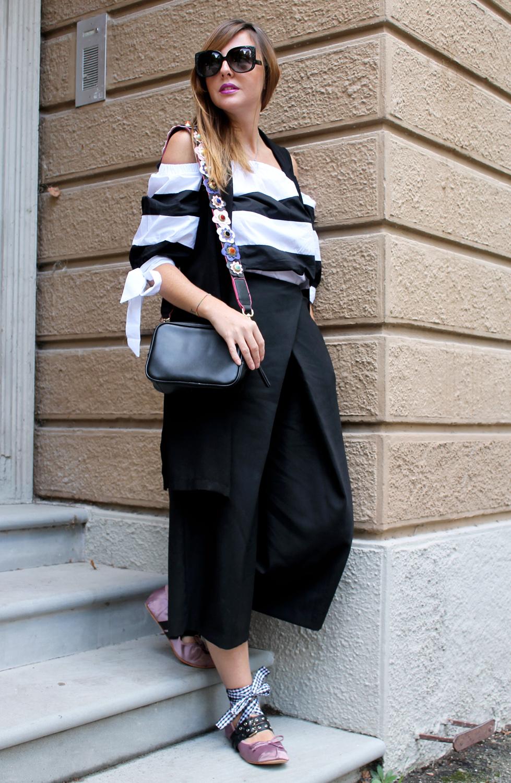 culotte pants maxi gilet look bianco e nero