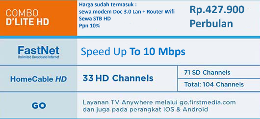 PROMO FIRST MEDIA PAKET COMBO DLITE  HD + ROUTER WIFI DLINK