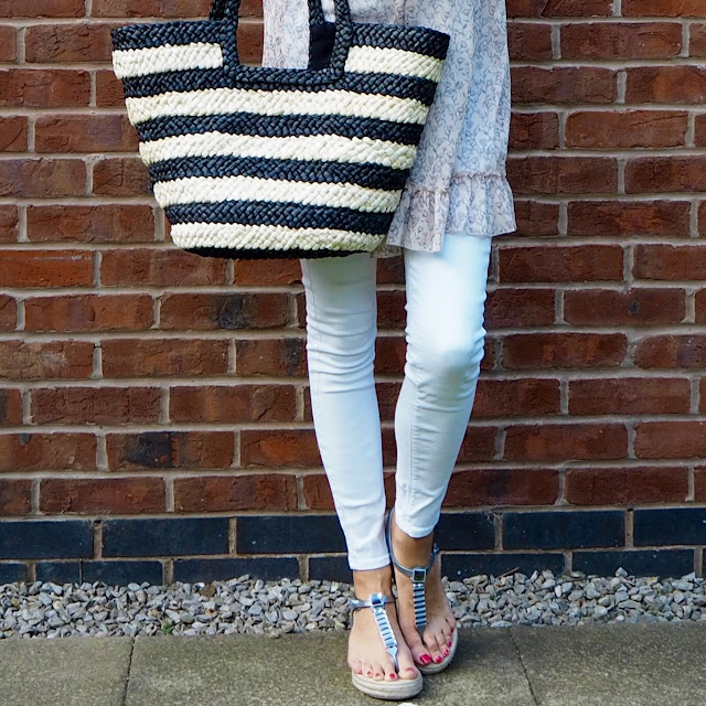 pretty summer top white jeans espadrille sandals and basket bag