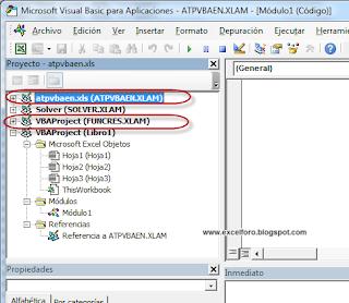 VBA: Complementos FUNCRES.XLAM y ATPVBAEN.XLAM de Excel