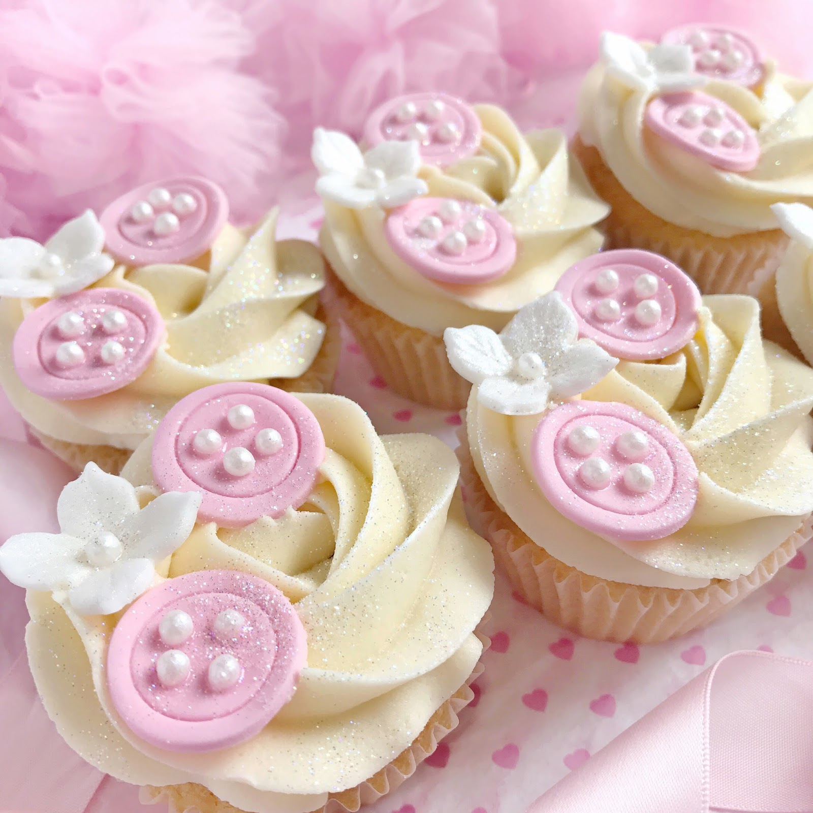 Glittery Pink Baby Button Cupcakes | Love, Catherine