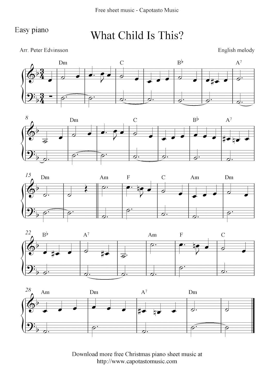 Free Christmas Sheet Music For Piano Feliz Navidad